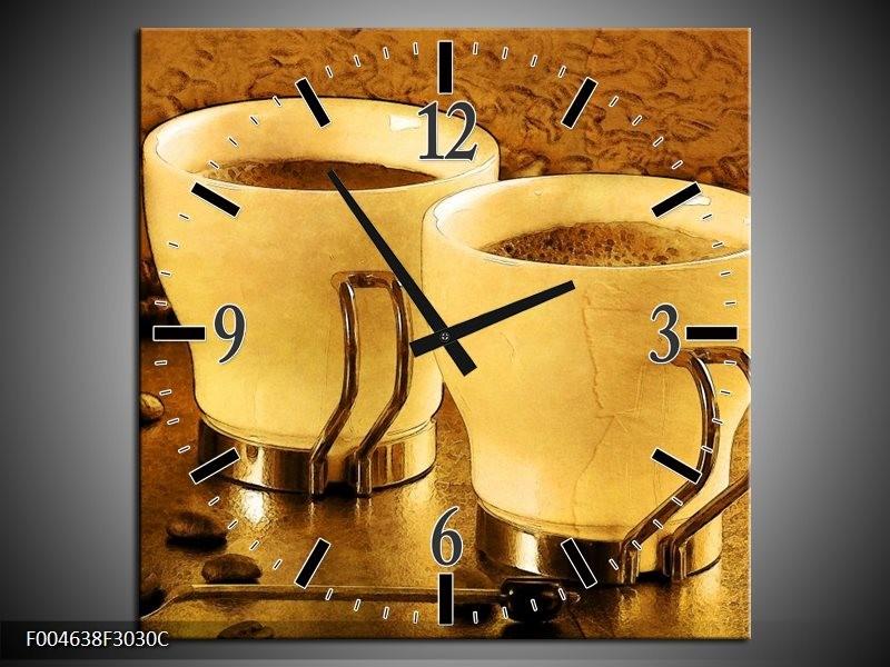Wandklok op Canvas Koffie | Kleur: Bruin, Geel | F004638C