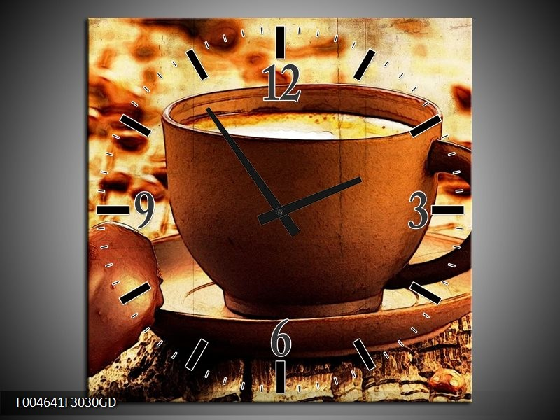 Wandklok op Glas Koffie | Kleur: Bruin, Geel | F004641CGD