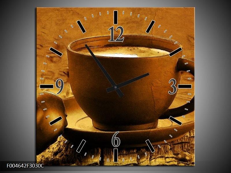 Wandklok op Canvas Koffie | Kleur: Bruin, Geel | F004642C
