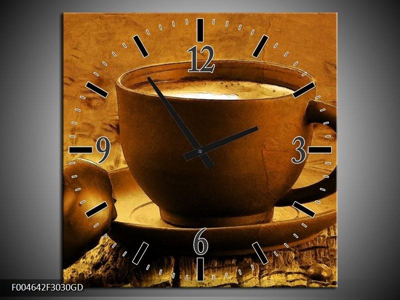 Wandklok op Glas Koffie | Kleur: Bruin, Geel | F004642CGD