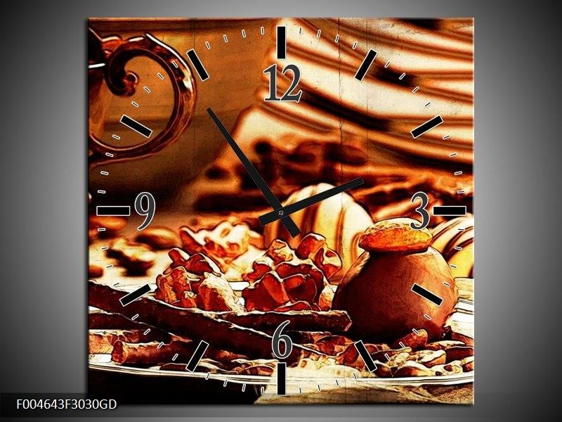 Wandklok op Glas Koffie   Kleur: Bruin, Geel   F004643CGD