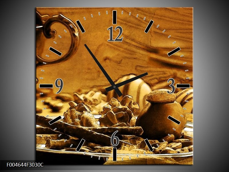 Wandklok op Canvas Koffie | Kleur: Bruin, Geel | F004644C