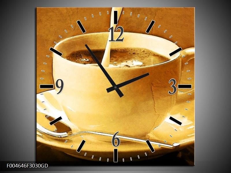Wandklok op Glas Koffie | Kleur: Bruin, Geel | F004646CGD