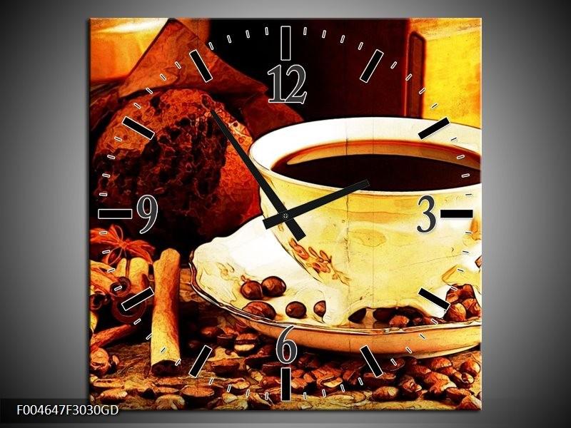Wandklok op Glas Koffie | Kleur: Bruin, Geel | F004647CGD