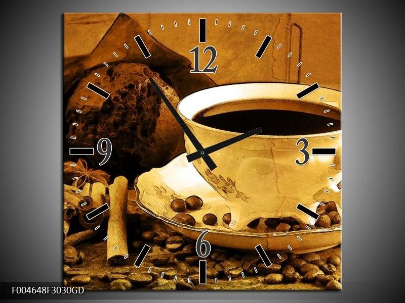 Wandklok op Glas Koffie | Kleur: Bruin, Geel | F004648CGD