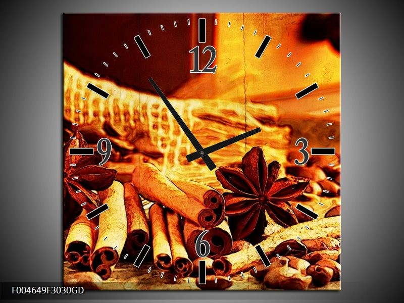 Wandklok op Glas Koffie   Kleur: Bruin, Geel   F004649CGD
