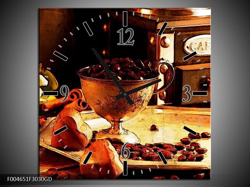 Wandklok op Glas Koffie   Kleur: Bruin, Geel   F004651CGD