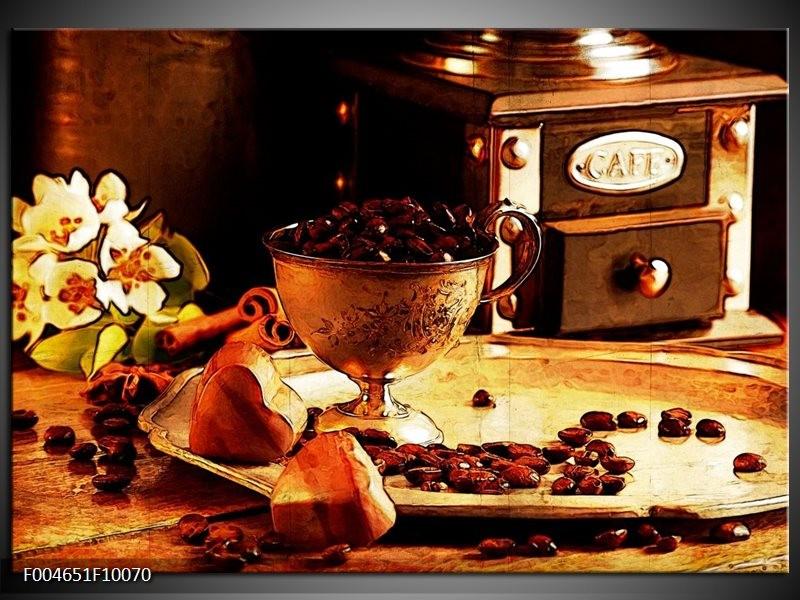 Glas schilderij Koffie | Bruin, Geel