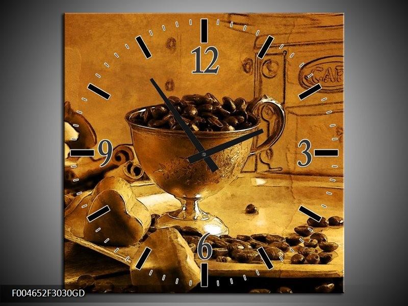 Wandklok op Glas Koffie | Kleur: Bruin, Geel | F004652CGD