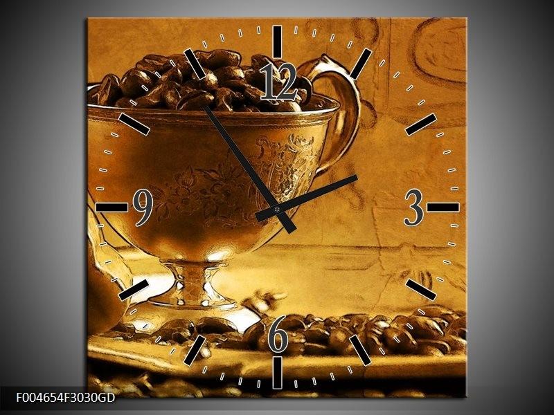 Wandklok op Glas Koffie | Kleur: Bruin, Geel | F004654CGD