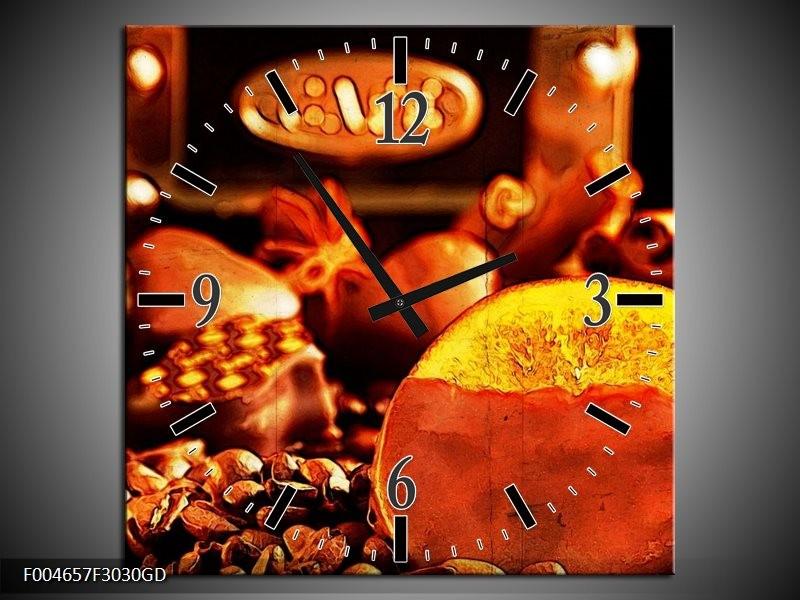 Wandklok op Glas Koffie | Kleur: Bruin, Geel | F004657CGD
