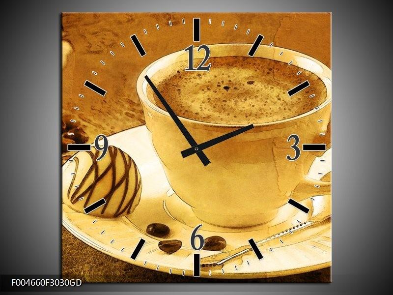 Wandklok op Glas Koffie | Kleur: Bruin, Geel | F004660CGD