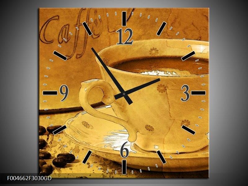 Wandklok op Glas Koffie   Kleur: Bruin, Geel   F004662CGD