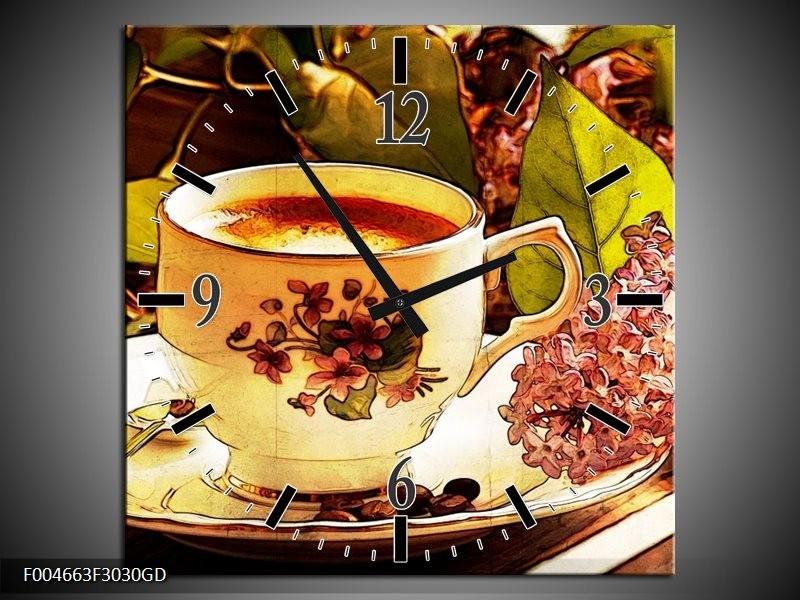 Wandklok op Glas Keuken | Kleur: Bruin, Geel | F004663CGD