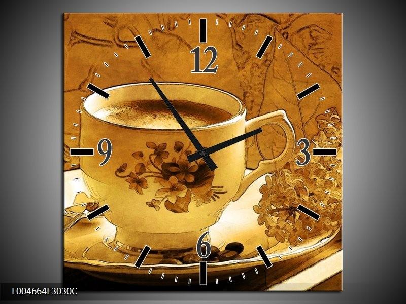 Wandklok op Canvas Keuken | Kleur: Bruin, Geel | F004664C
