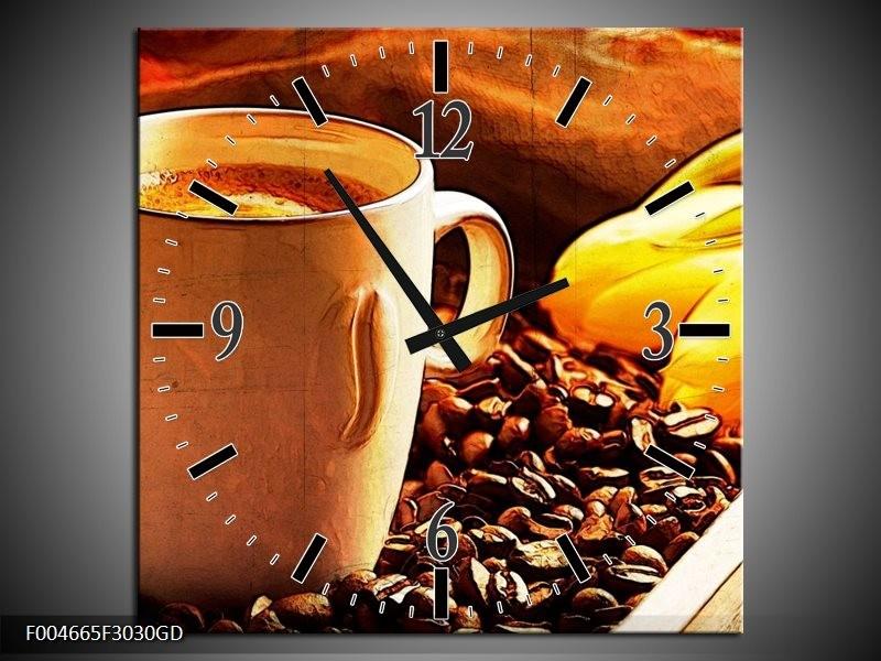 Wandklok op Glas Keuken   Kleur: Bruin, Geel   F004665CGD