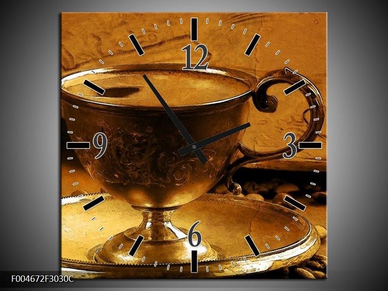 Wandklok op Canvas Keuken   Kleur: Bruin, Geel   F004672C