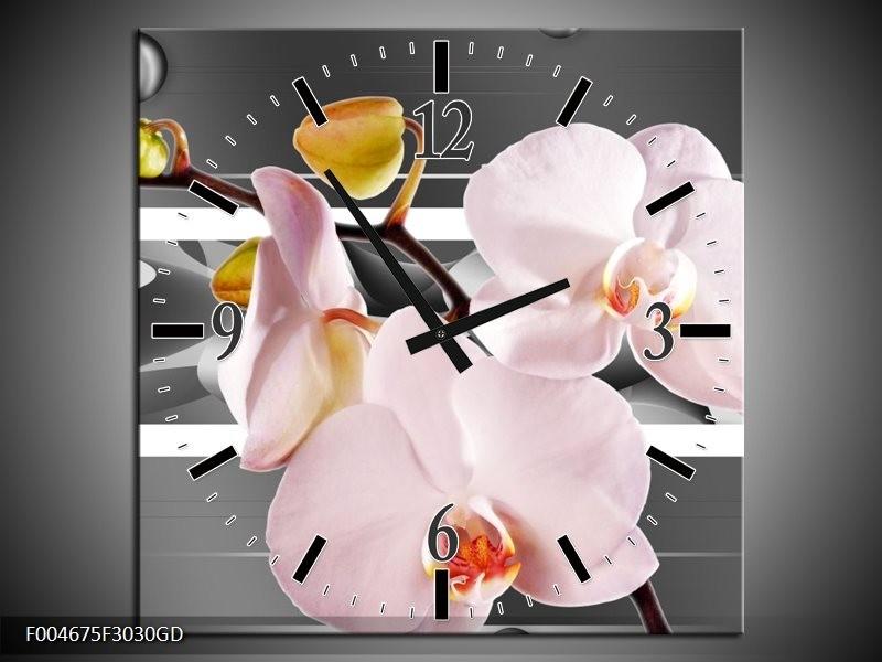 Wandklok op Glas Orchidee | Kleur: Grijs, Roze, Wit | F004675CGD