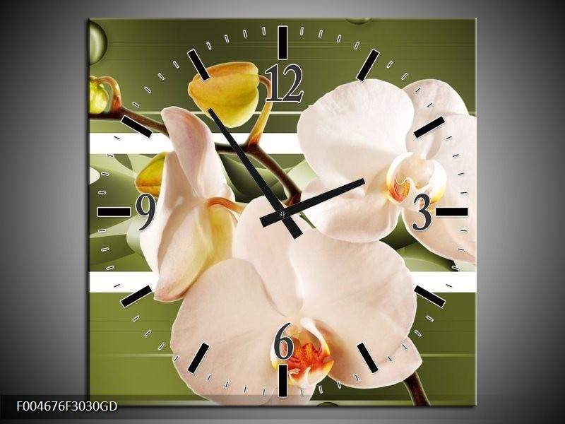 Wandklok op Glas Orchidee   Kleur: Groen, Roze, Wit   F004676CGD