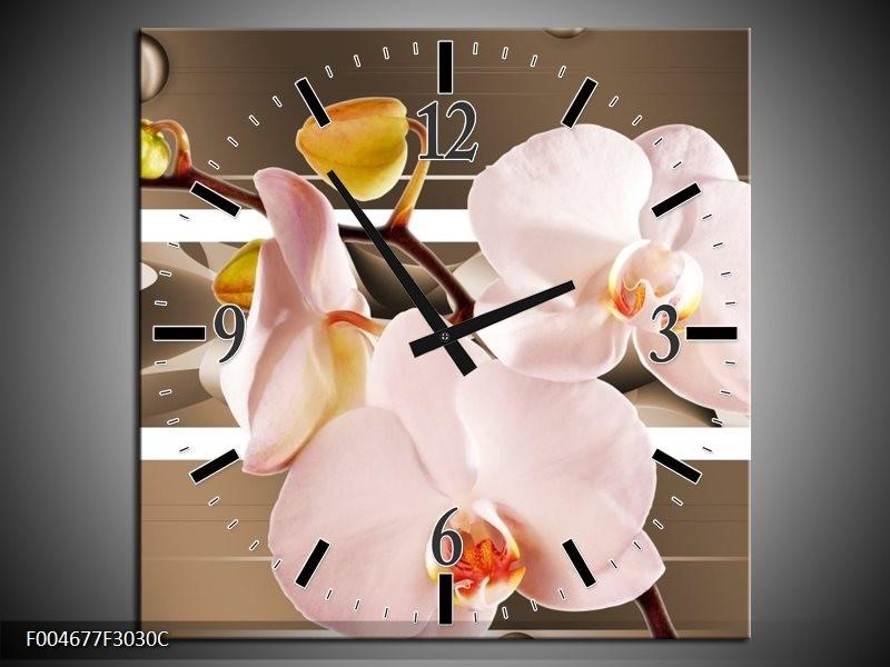 Wandklok op Canvas Orchidee | Kleur: Bruin, Roze | F004677C