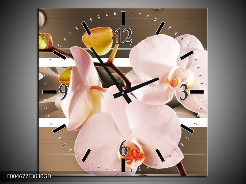 Wandklok op Glas Orchidee | Kleur: Bruin, Roze | F004677CGD