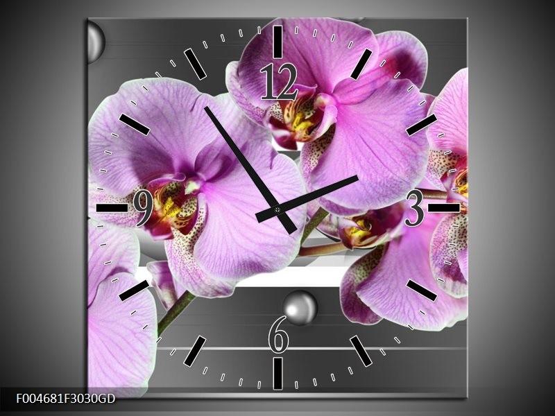 Wandklok op Glas Orchidee | Kleur: Grijs, Paars, Wit | F004681CGD