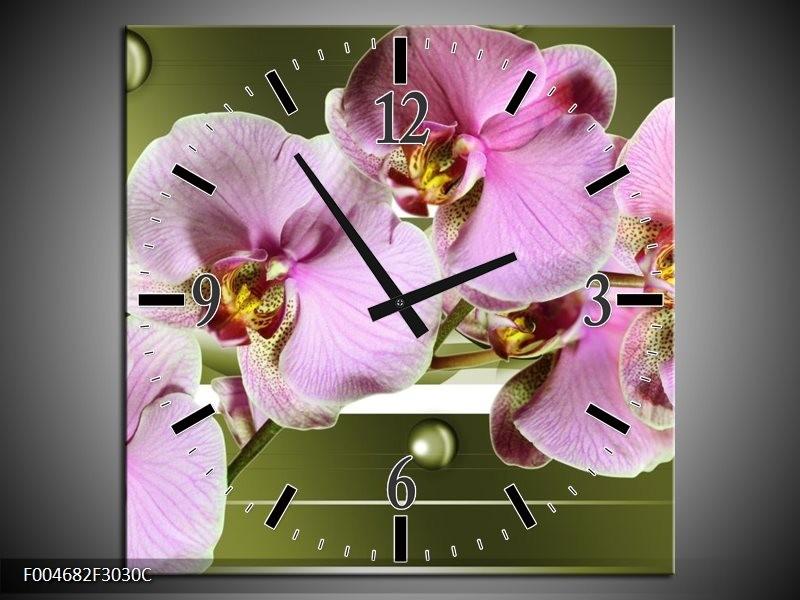 Wandklok op Canvas Orchidee | Kleur: Groen, Paars, Roze | F004682C