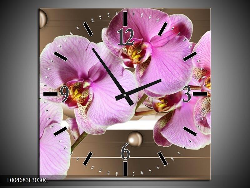 Wandklok op Canvas Orchidee | Kleur: Bruin, Paars, Roze | F004683C