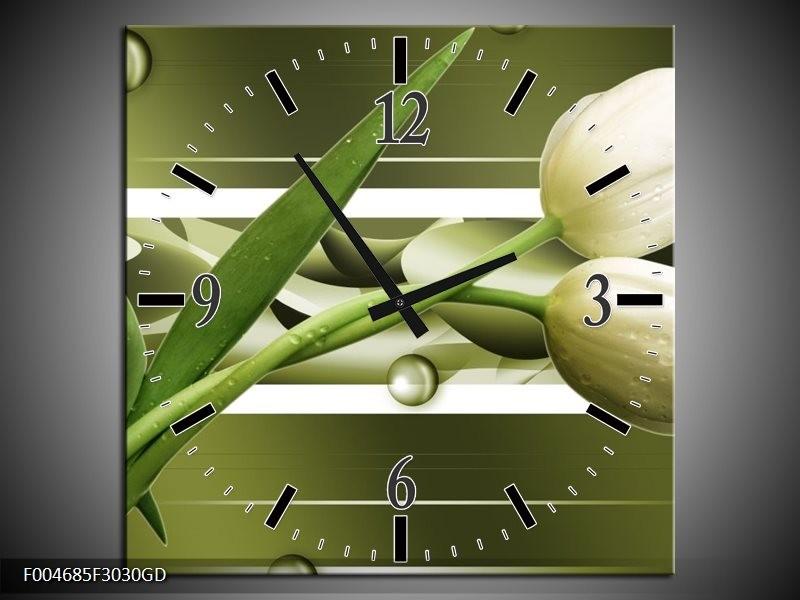 Wandklok op Glas Tulp | Kleur: Grijs, Wit, Groen | F004685CGD
