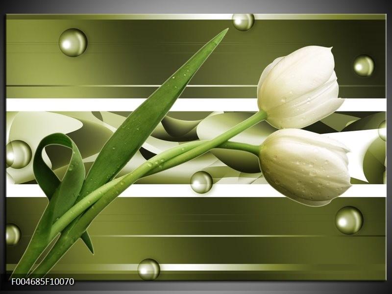Glas schilderij Tulp   Grijs, Wit, Groen