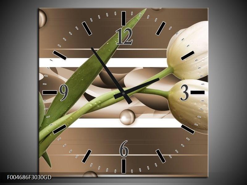 Wandklok op Glas Tulp | Kleur: Bruin, Groen, Wit | F004686CGD