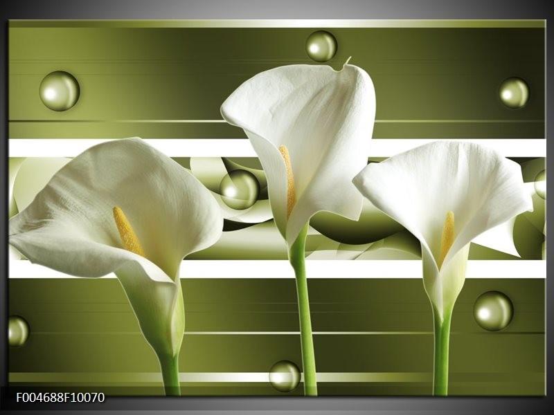 Glas schilderij Bloem | Groen, Wit