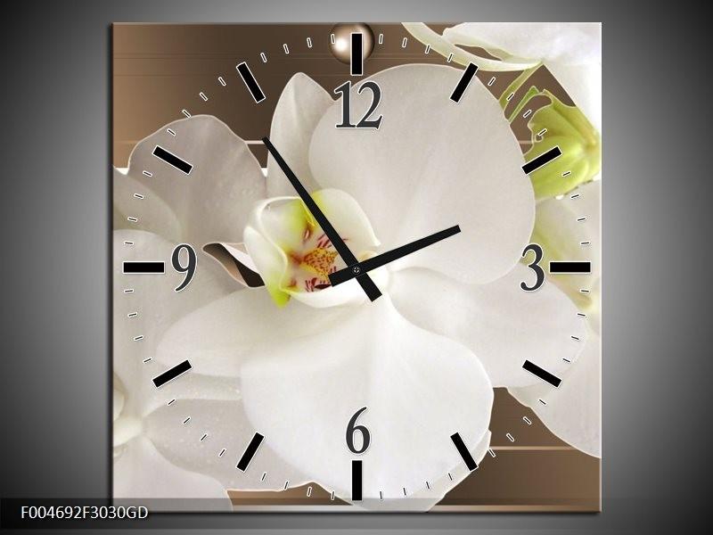 Wandklok op Glas Orchidee | Kleur: Bruin, Wit | F004692CGD