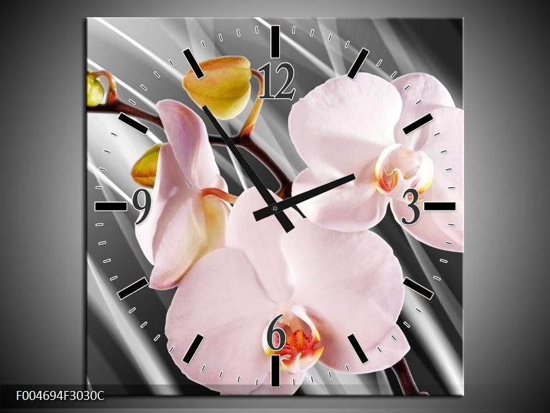 Wandklok op Canvas Orchidee | Kleur: Grijs, Roze, Wit | F004694C