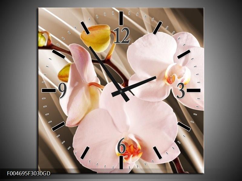 Wandklok op Glas Orchidee   Kleur: Bruin, Roze   F004695CGD
