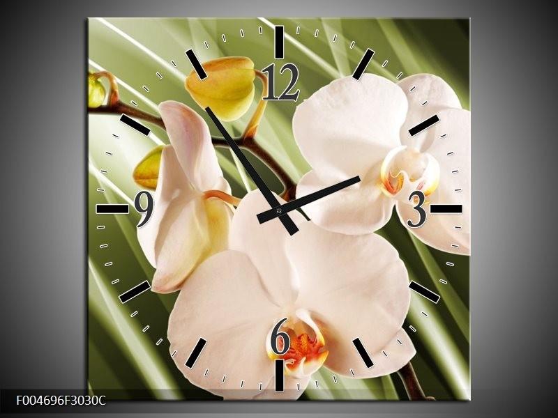 Wandklok op Canvas Orchidee | Kleur: Groen, Roze, Wit | F004696C