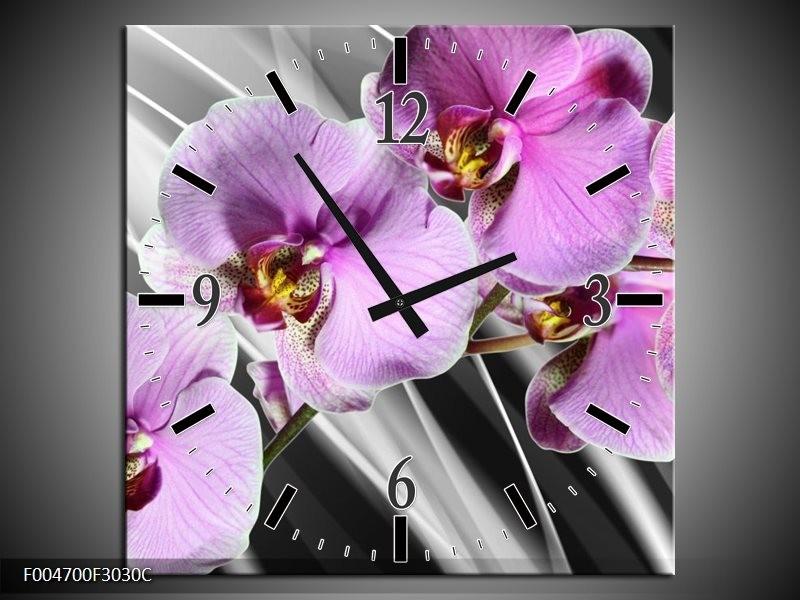 Wandklok op Canvas Orchidee | Kleur: Paars, Grijs | F004700C