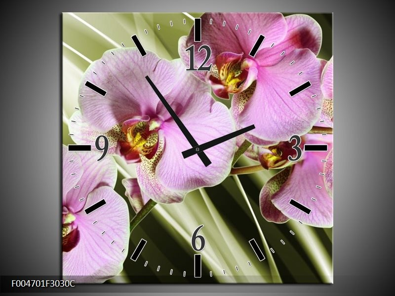 Wandklok op Canvas Orchidee | Kleur: Groen, Paars | F004701C
