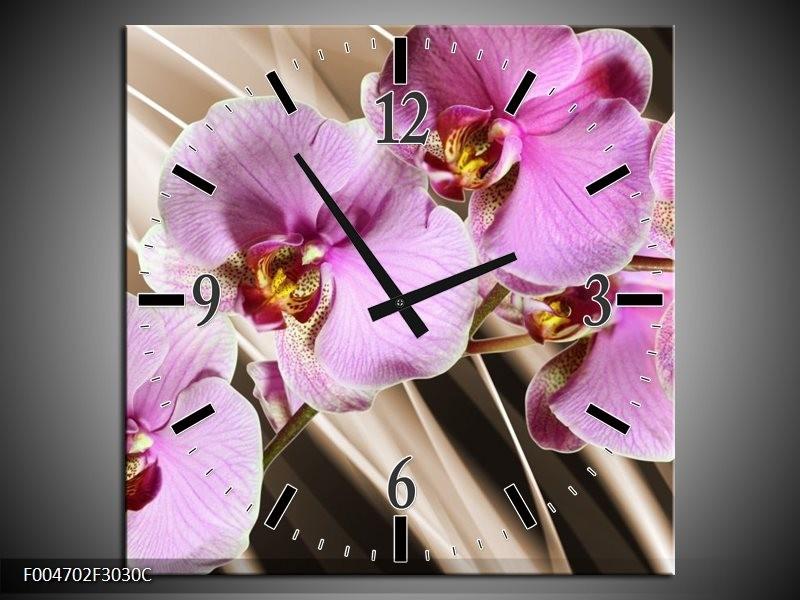 Wandklok op Canvas Orchidee | Kleur: Groen, Bruin, Roze | F004702C