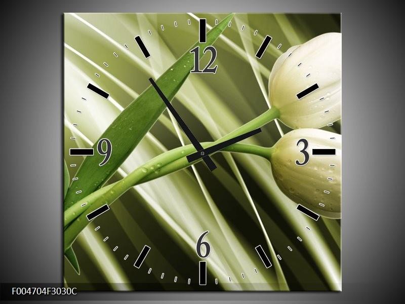 Wandklok op Canvas Tulp | Kleur: Grijs, Wit, Groen | F004704C