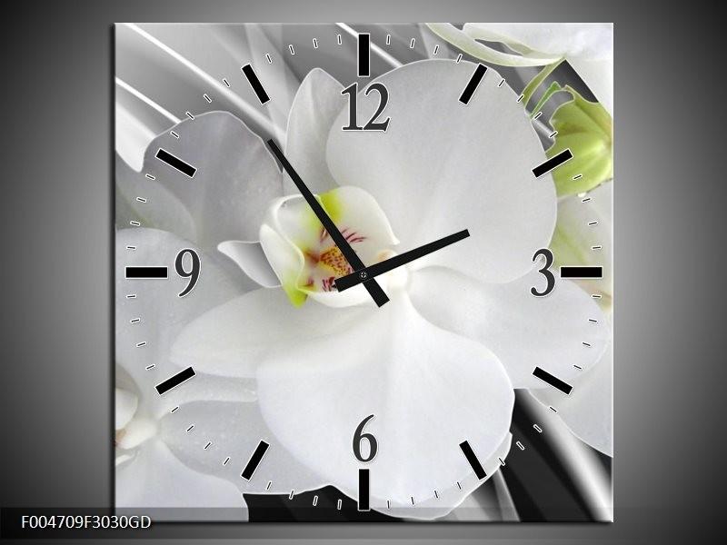 Wandklok op Glas Orchidee | Kleur: Wit, Grijs, Groen | F004709CGD