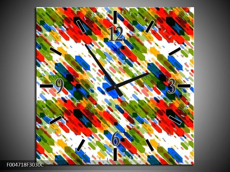 Wandklok op Canvas Modern   Kleur: Groen, Blauw, Rood   F004718C