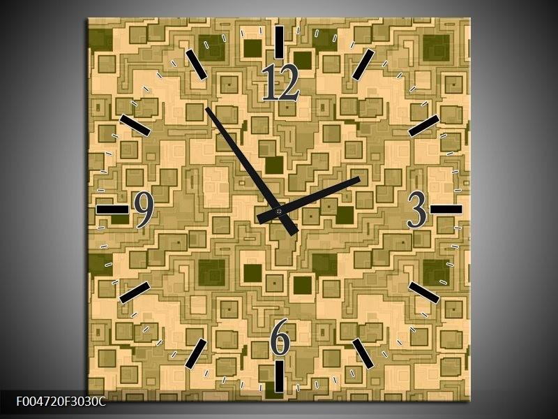 Wandklok op Canvas Modern   Kleur: Bruin, Groen   F004720C