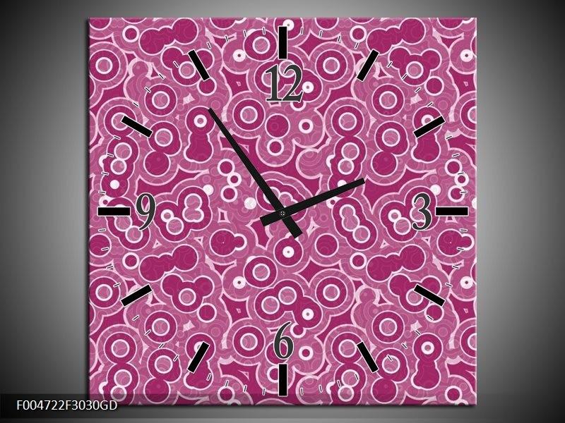 Wandklok op Glas Modern | Kleur: Paars, Wit, Roze | F004722CGD