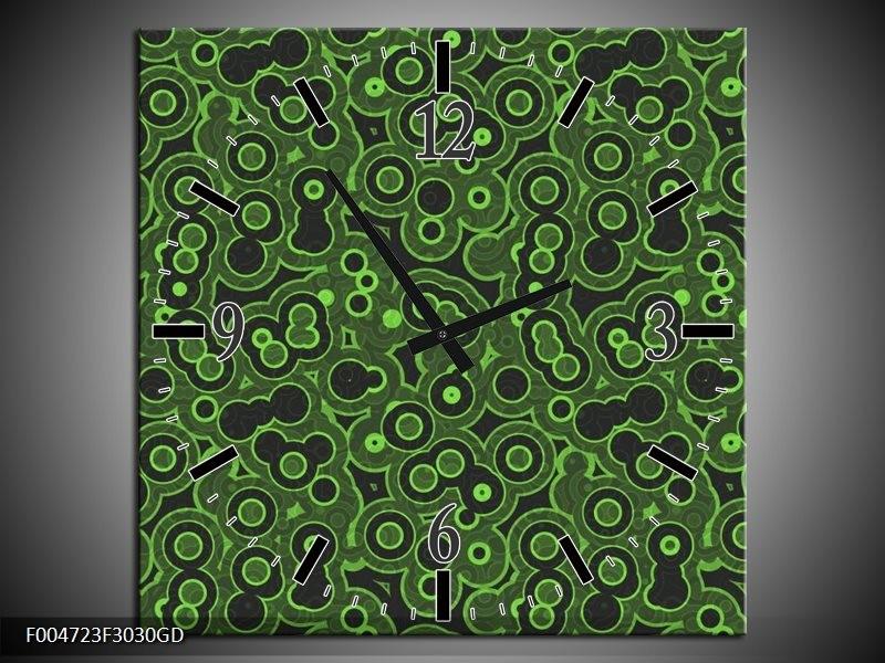 Wandklok op Glas Modern   Kleur: Groen, Zwart   F004723CGD