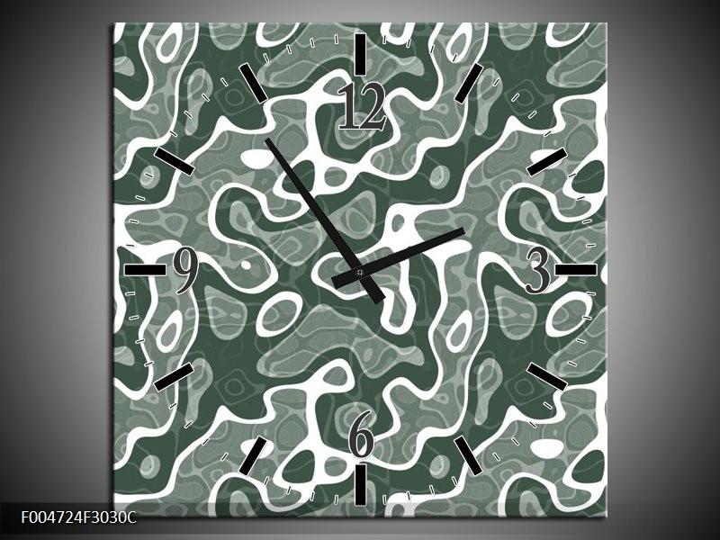 Wandklok op Canvas Modern | Kleur: Grijs, Wit | F004724C