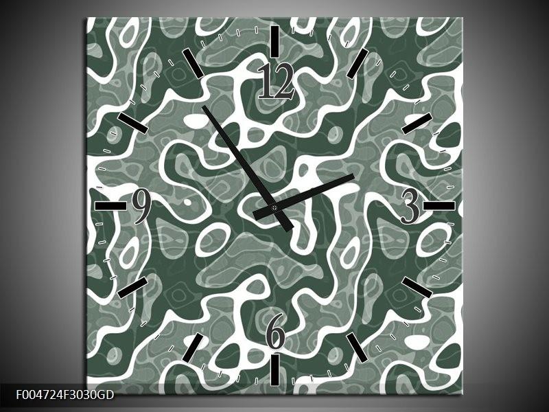 Wandklok op Glas Modern | Kleur: Grijs, Wit | F004724CGD