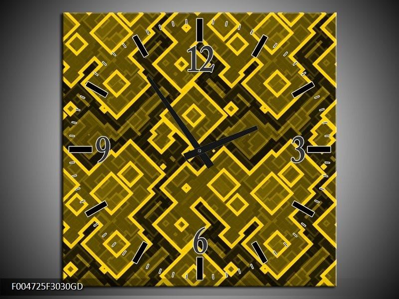 Wandklok op Glas Modern | Kleur: Geel, Zwart | F004725CGD