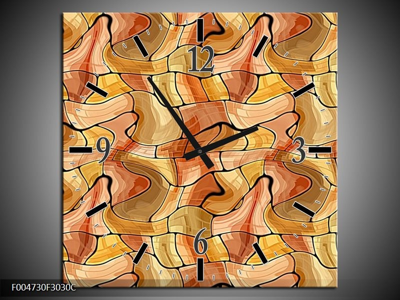 Wandklok op Canvas Modern | Kleur: Geel, Bruin, Wit | F004730C