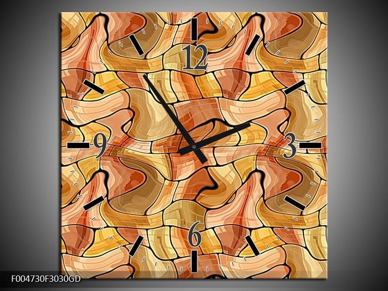 Wandklok op Glas Modern | Kleur: Geel, Bruin, Wit | F004730CGD